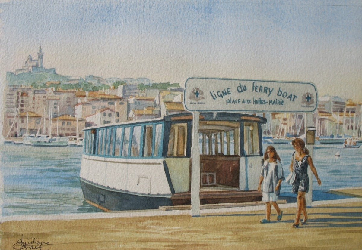 Aquarelle : Le ferry-boat