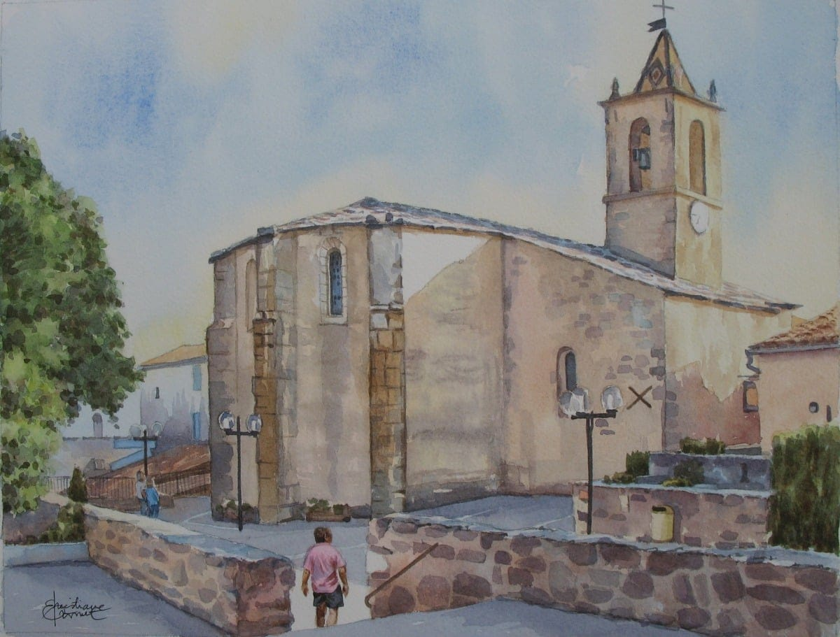 Aquarelle : L'église de CRUIS
