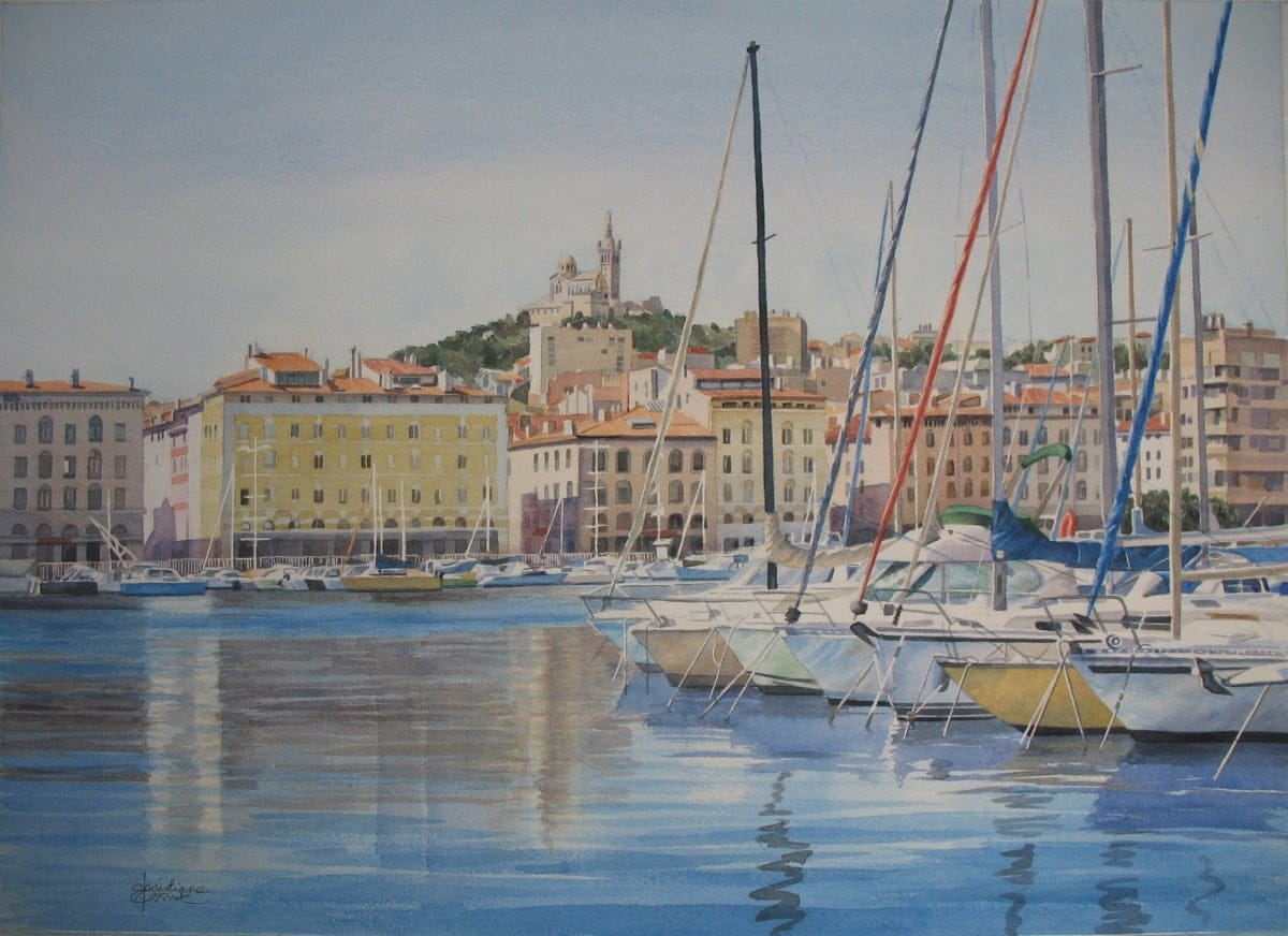 Aquarelle : Les beaux reflets, version grand format